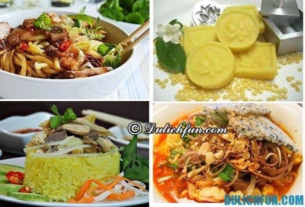Những món ăn như cao lầu , cơm gà Hội An, mì Quảng, bánh đậu xanh Hội An đều là những món ăn đặc sản hấp dẫn thực khách khi du lịch ở Quảng Nam