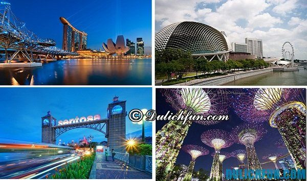 Những điểm du lịch nổi tiếng ở Singapore nên ghé thăm như đảo Sentosa, công viên Sư tử...