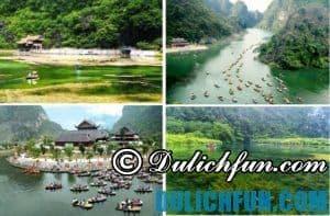 Tràng An điểm du lịch nổi tiếng nhất Ninh Bình với nhiều hang động đẹp, núi non kì vĩ, nước mát và trong xanh, con người nơi đây thân thiện, có tình.