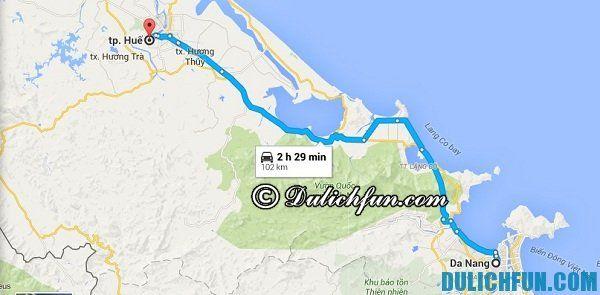 Hướng dẫn du lịch Huế - Hướng dẫn đường đi/phương tiện di chuyển đến Huế du lịch