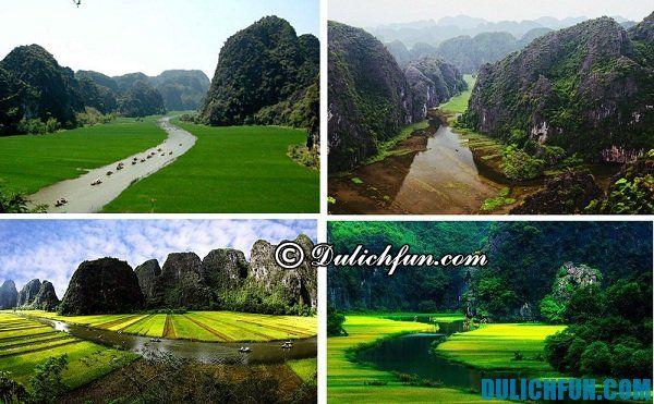 Tam Cốc Bích Động là một trong những điểm du lịch lí thú nhất Ninh Bình với nhiều hang động đẹp, nước sông quanh núi trong xanh, vào mùa hè bạn có cơ hội chiêm ngưỡng vẻ đẹp của những cánh đồng lúa chín quanh khu du lịch