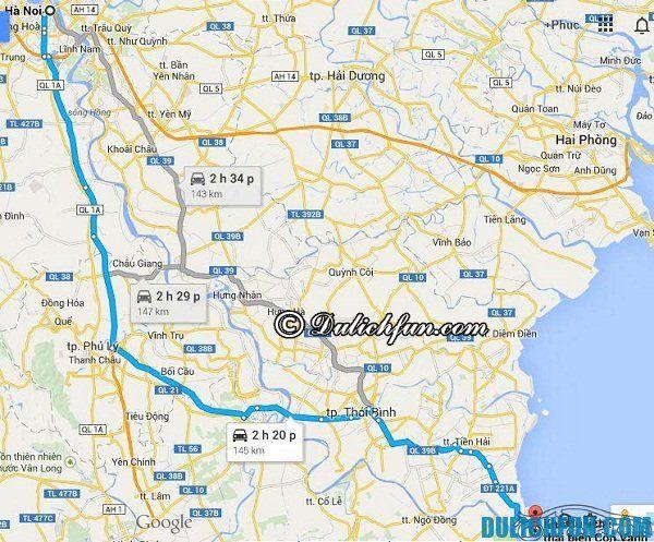 Đường di chuyển từ Hà Nội tới Thái Bình