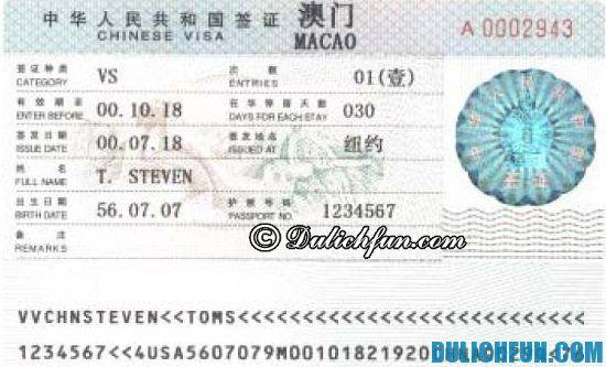 Hướng dẫn cách xin Visa đi du lịch Ma Cao, Trung Quốc. Kinh nghiệm du lịch Ma Cao và cách xin visa đi Ma Cao.