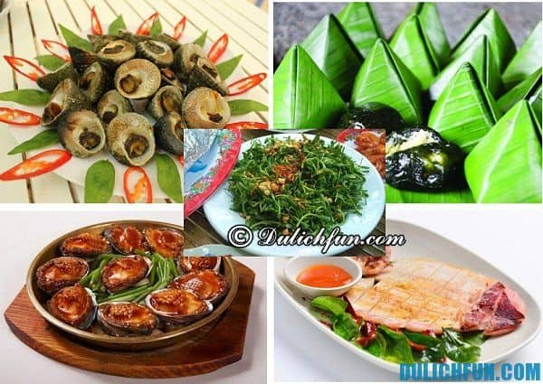Đặc sản trên đảo Cù Lao Chàm, món ốc vú nàng, mực một nắng, bào ngư, rau rừng.