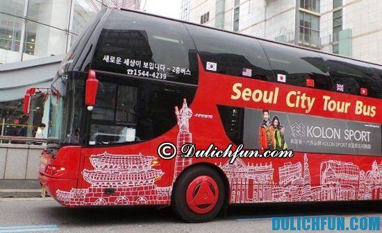 Xe bus, phương tiện di chuyển quen thuộc ở Seoul. Phương tiện di chuyển khi du lịch Seoul, Hàn Quốc