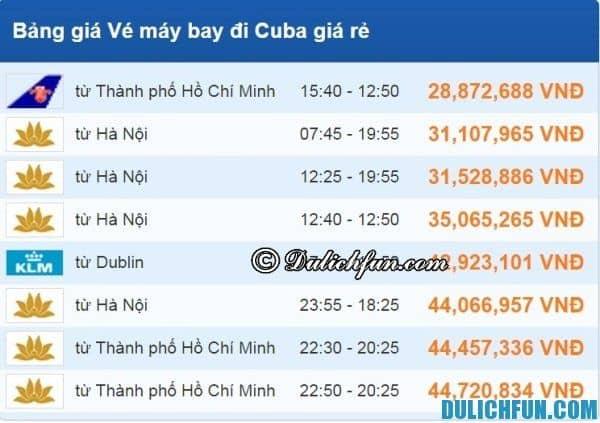 Hướng dẫn du lịch Cuba - Phương tiện di chuyển, giá vé máy bay