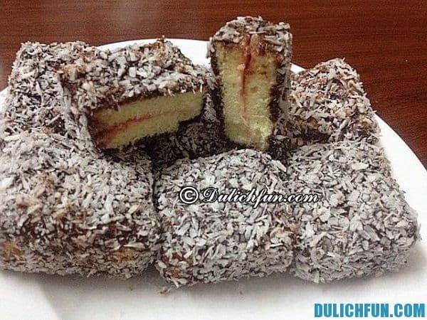 Bánh Lamington, bánh ngon nước Úc, món ăn truyền thống người Úc. Ẩm thực Úc hấp dẫn du khách