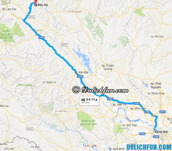 Kinh nghiệm du lịch Bắc Hà - phương tiện đi lại & di chuyển ở Bắc Hà: Hướng dẫn đường đi du lịch Bắc Hà từ Hà Nội