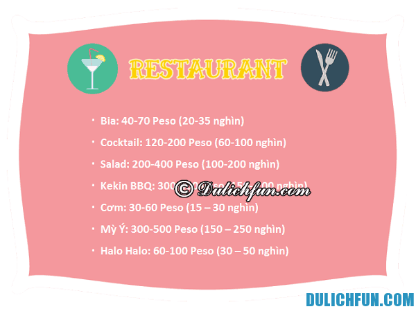 Chi phí ăn uống, đi lại ở Philippines. Chi phí du lịch Philippines tự túc