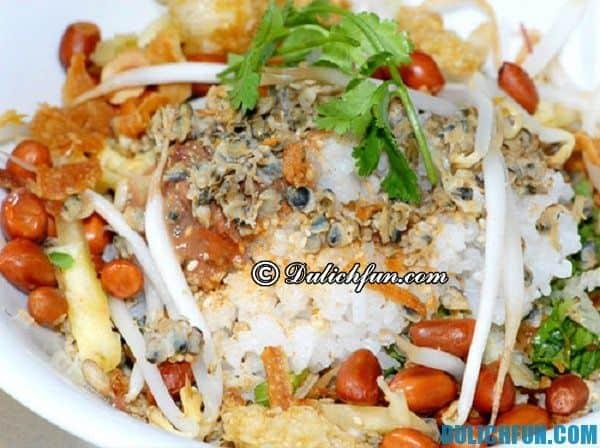Cơm hến, món ăn đặc trưng ở Huế. Đặc sản xứ Huế. Quán ăn ngon ở Huế