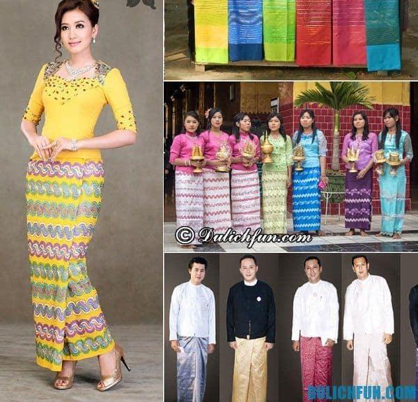 trang phục truyền thống của người Myanmar. Quà lưu niệm ở Myanmar. Mua gì khi tới Myanmar