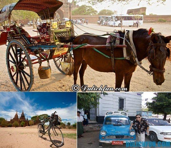 Hướng dẫn, cẩm nang du lịch Bagan, Myanmar. Phương tiện di chuyển ở Bagan