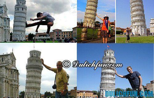 Kinh nghiệm du lịch tháp nghiêng Pisa: check in bên tháp nghiêng