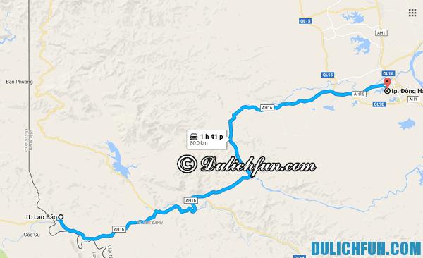 Bản đồ chỉ đường đi Lao Bảo từ Đồng Hới. Hướng dẫn du lịch mua sắm hàng miễn thuế ở cửa khẩu Lao Bảo