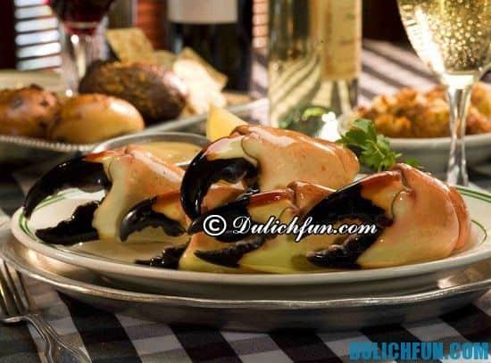 Ăn gì khi du lịch Miami? Cua đá, món ăn ngon, hấp dẫn và nổi tiếng nhất ở Miami