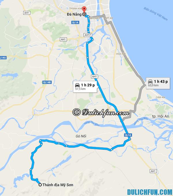 Hướng dẫn đường đi du lịch từ Đà Nẵng tới Mỹ Sơn. Tư vấn lịch trình tham quan du lịch Mỹ Sơn