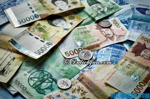 Lưu ý về tiền tệ, mua sắm ở Hàn Quốc. Những chú ý quan trọng khi du lịch Hàn Quốc
