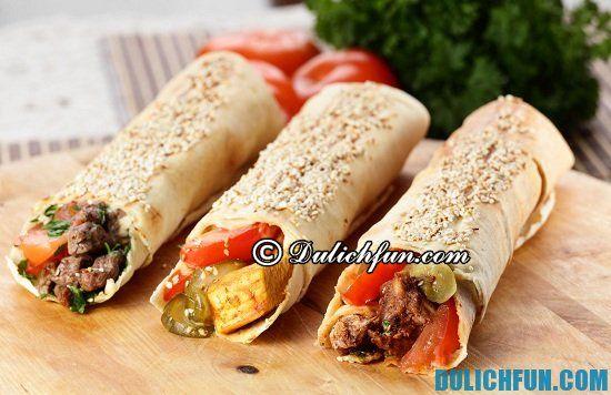 Nên ăn gì khi du lịch Dubai? gà cuốn (shawarma), món ăn ngon, đặc sản nổi tiếng ở Dubai - Kinh nghiệm du lịch Dubai tự túc, giá rẻ
