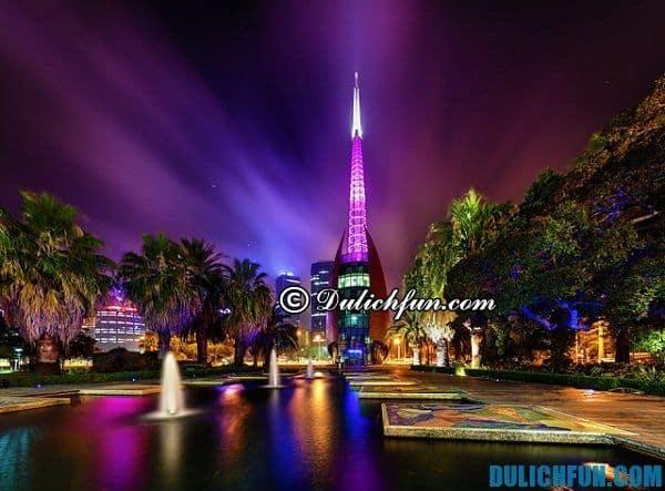 Những địa điểm du lịch nổi tiếng hàng đầu ở Perth, du lịch Perth nên ghé thăm ở đâu. Tháp chuông Swan ở thành phố Perth