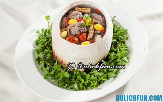 Hướng dẫn du lịch đảo Dừa Lửa: Ăn gì khi du lịch đảo Dừa Lửa? Thịt bò đốt trái dừa, món ăn ngon, hấp dẫn ở đảo Dừa Lửa