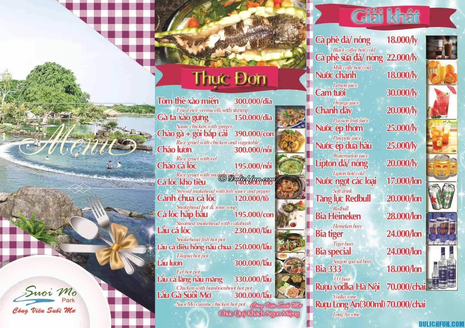 Ăn gì khi đi tham quan công viên Suối Mơ, Đồng Nai: Báo giá thực đơn nhà hàng tại khu du lịch Suối Mơ