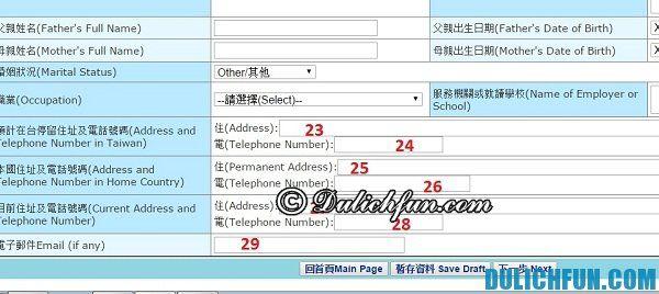 Hướng dẫn điền đơn xin visa du lịch Đài Loan online: Mẫu xin visa du lịch Đài Loan trực tuyến và cách điền thông tin