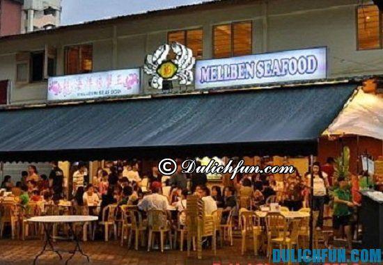 Điểm tên những quán ăn, nhà hàng ăn cua sốt ớt Chili Crab ngon, hấp dẫno ở Singapore. Nhà hàng Mellben Seafood, địa điểm quán ăn cua sốt ớt Chili Crab ở Singapore bạn nhất định phải tới