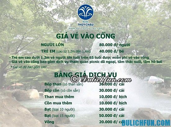 Bảng giá vé tham quan khu du lịch Thủy Châu, vé vào khu du lịch Thủy Châu bao nhiêu tiền?