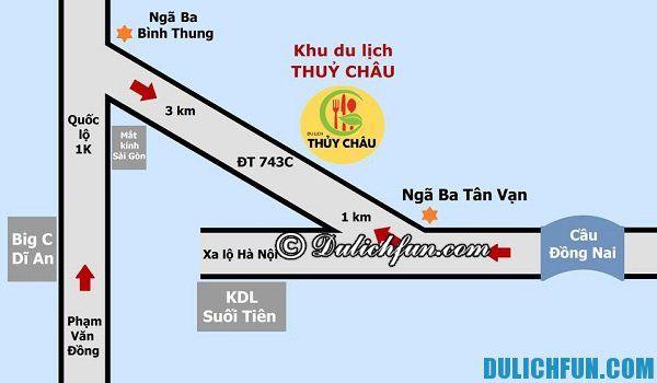 Đi khu du lịch Thủy Châu bằng xe máy, hướng dẫn đường đi tới khu du lịch Thủy Châu, Binh Dương