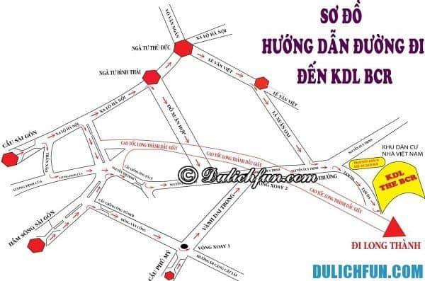 Hướng dẫn đường đi tới khu du lịch BCR, Sài Gòn bằng xe bus và ô tô, xe máy: Cách đi tới khu du lịch BCR từ trung tâm Sài Gòn