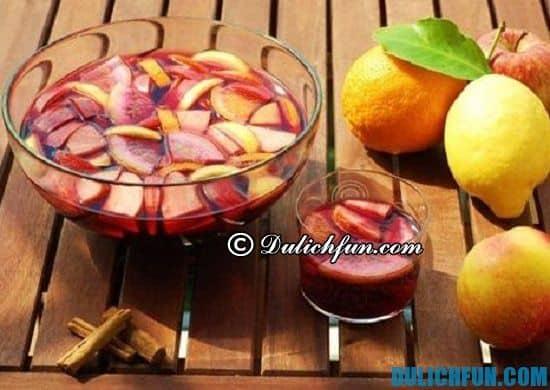 Ăn uống ở Seville. Sangria (cocktail trái cây), đồ uống ngon, được yêu thích nhất ở Seville: Du lịch Seville nên ăn món gì?
