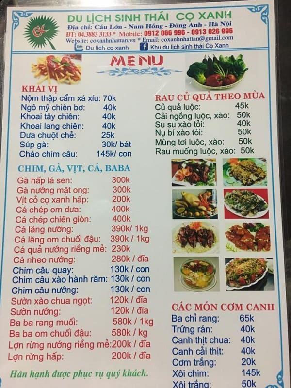 Bảng giá dịch vụ ăn uống ở khu sinh thái Cọ Xanh: Kinh nghiệm đi khu sinh thái Cọ Xanh, Đông Anh dịp cuối tuần