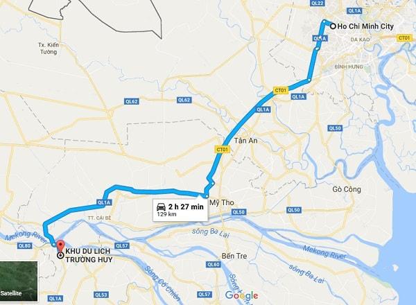 Hướng dẫn đường đi tham quan, vui chơi ở khu du lịch Trường Huy, Vĩnh Long: Bản đồ đường đi tới khu du lịch Trường Huy từ Sài Gòn