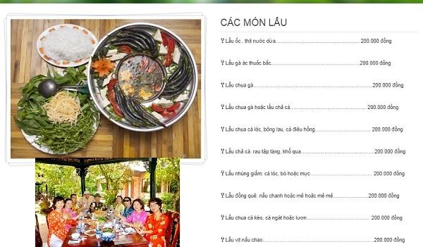 Kinh nghiệm du lịch Mỹ Khánh đẹp, thú vị nhất: Kinh nghiệm ăn uống, thực đơn ở làng du lịch Mỹ Khánh, Cần Thơ
