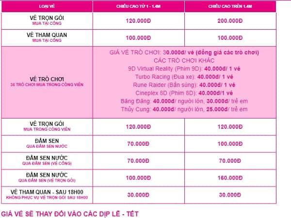 Bảng giá vé tham quan, vào cổng công viên văn hóa Đầm Sen: Giá vé vào tham quan công viên Đầm Sen bao nhiêu tiền?