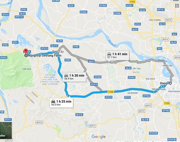 Hướng dẫn đường đi du lịch, dã ngoại Detrang Farm Ba Vì: Các cách di chuyển từ trung tâm Hà Nội đến Detrang Farm Ba Vì, Hà Nội