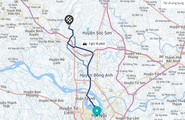 Hướng dẫn đường đi khu du lịch sinh thái Thiên Phú Lâm từ trung tâm Hà Nội: Cách di chuyển từ trung tâm Hà Nội đến KDL Thiên Phú Lâm