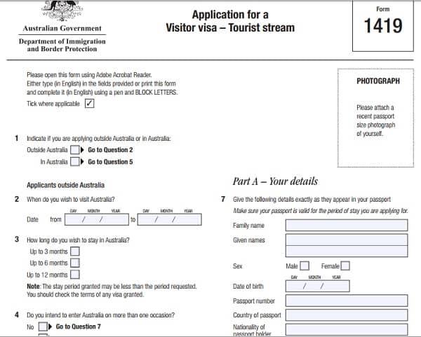 Hướng dẫn cách điền form 1419 xin visa đi du lịch Úc: Viết tờ khai xin visa đi du lịch Úc mẫu 1419 như thế nào?
