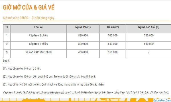 Hướng dẫn du lịch VinWonders Nha Trang. Giá vé cáp treo VinWonders Nha Trang