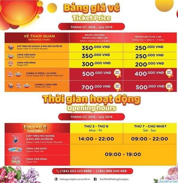 Kinh nghiệm đi chơi Sun World Hạ Long Park: Bảng giá vé Sun World Hạ Long Park