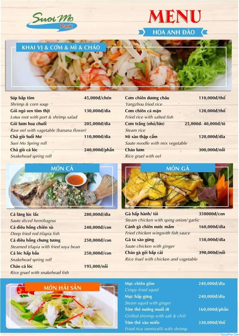 Kinh nghiệm vui chơi, ăn uống ở khu du lịch Suối Mơ, Đồng Nai: Du lịch Suối Mơ ăn gì, ăn ở đâu?
