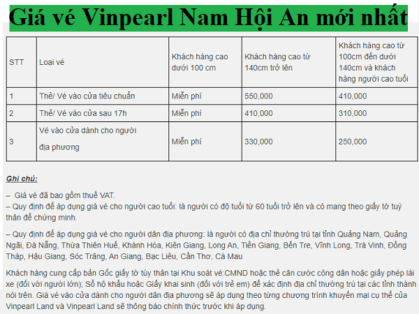 Kinh nghiệm đi VinWonders Nam Hội An. Giá vé tham quan VinWonders Nam Hội An mới nhất