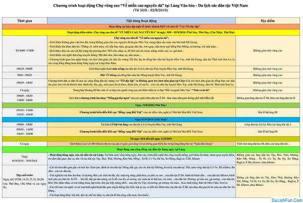 Thông tin chung về sự kiện dịp 2/9/2019 tại làng văn hóa các dân tộc Việt Nam. Chương trình