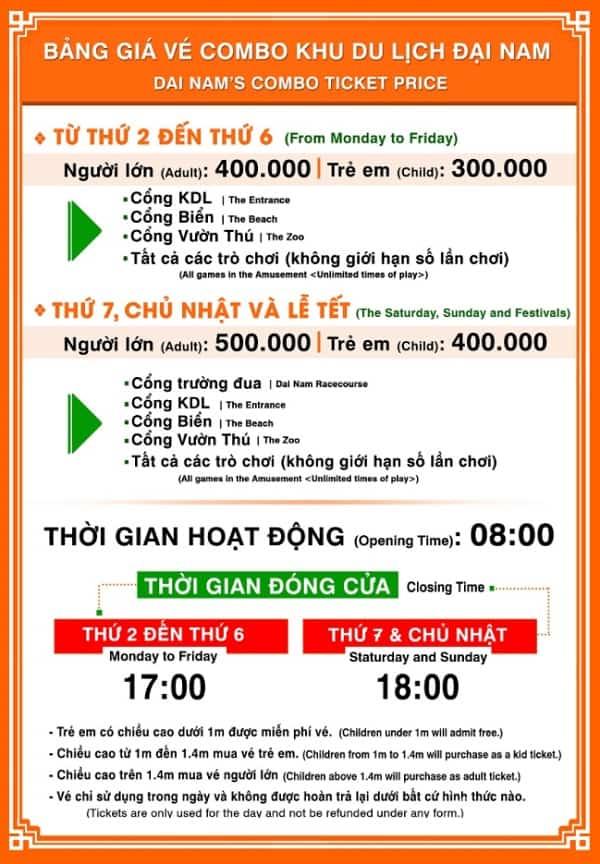 Kinh nghiệm du lịch Đại Nam Văn Hiến, giá vé combo Đại Nam Văn Hiến