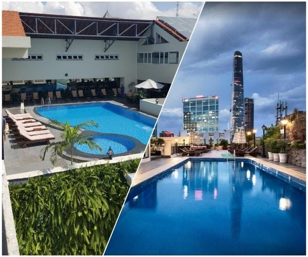 Hồ bơi ngoài trời ở khách sạn Rex Hotel Saigon. Review khách sạn Rex Hotel Saigon về tiện ích thư giãn và vui chơi giải trí
