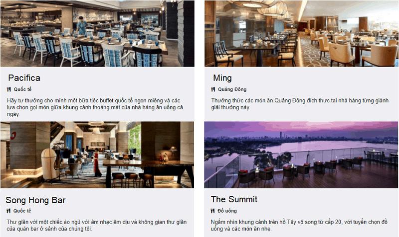 Review khách sạn Pan Pacific Hà Nội, các nhà hàng, quán bar ở khách sạn