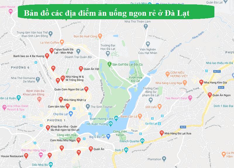 Bản đồ các địa điểm ăn uống ngon rẻ ở Đà Lạt. Bản đồ du lịch Đà Lạt về nhà hàng, quán ăn ngon
