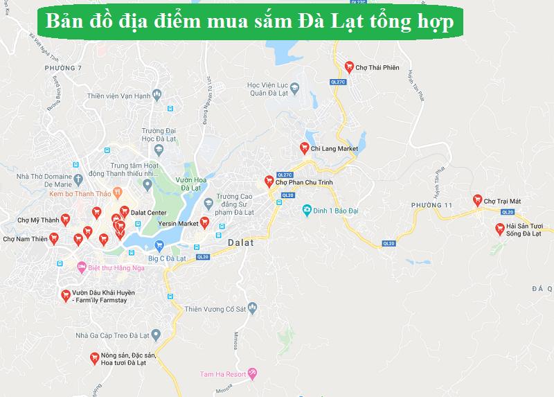 Bản đồ du lịch Đà Lạt về các khu chợ. Bản đồ địa điểm mua sắm ở Đà Lạt
