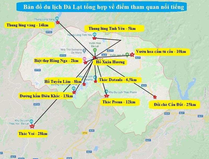 Bản đồ du lịch Đà Lạt về địa điểm tham quan nổi tiếng.