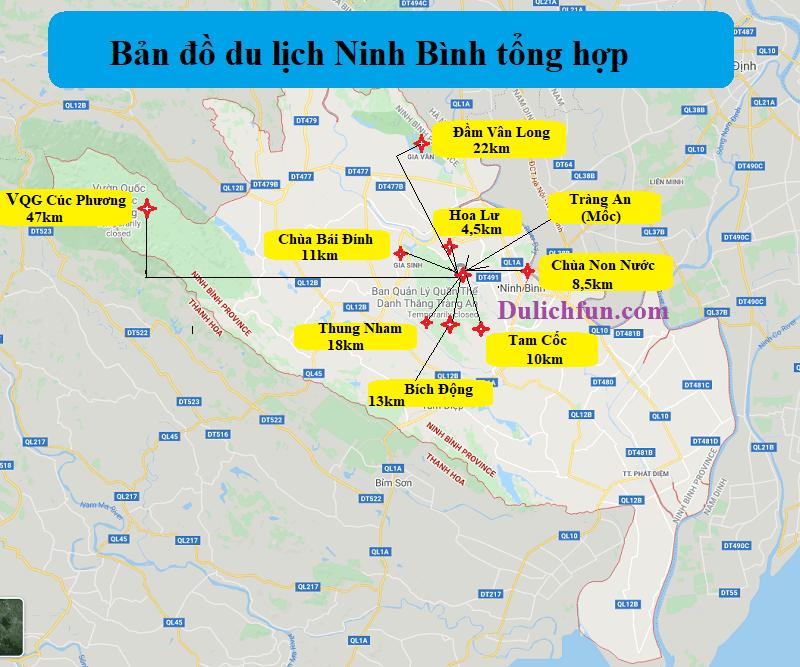 Bản đồ du lịch Ninh Bình tổng hợp chi tiết. Bản đồ các điểm tham quan nổi tiếng ở Ninh Bình